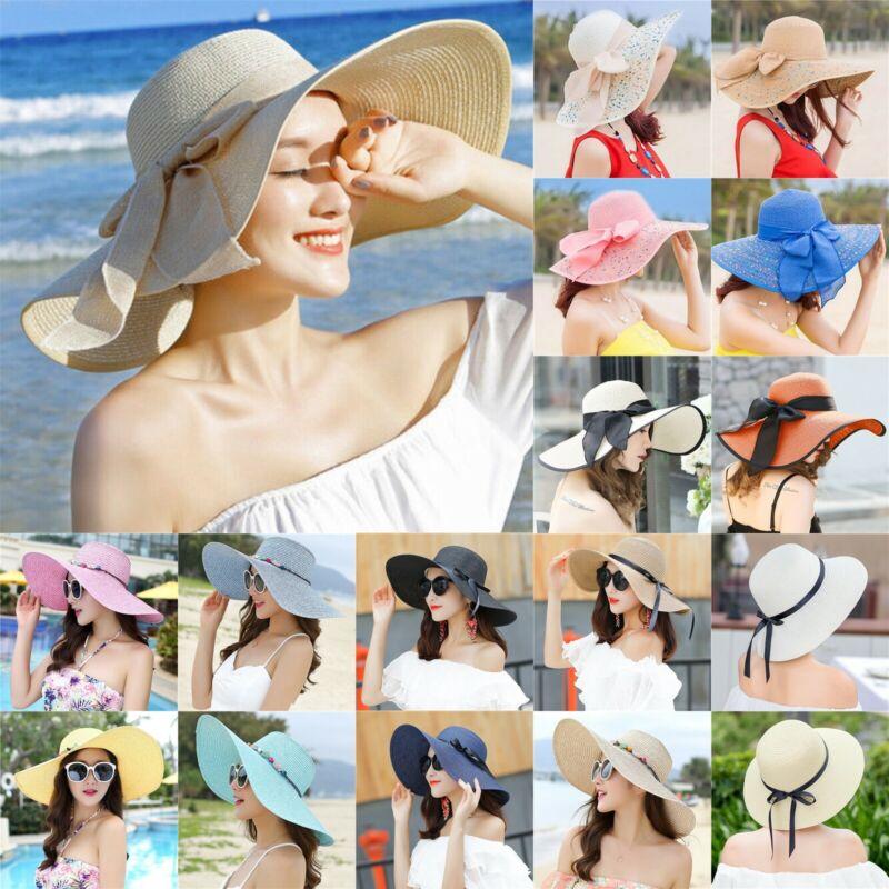 Women's Floppy Packable Wide Brim Sun Shade Derby Beach Stra