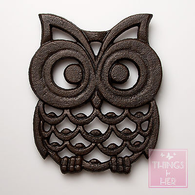 Sass & Belle Cast Iron Owl Shaped Trivet - Owl Pot Holder / Stand Table Saver