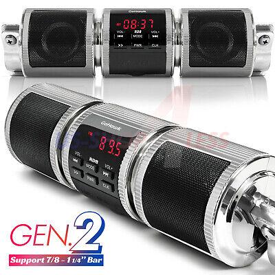 Handlebar Bluetooth Motorcycle Stereo Speaker Audio System MP3 ATV UTV 4 Wheeler