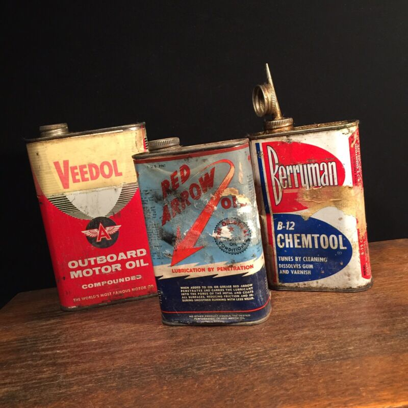 Vintage Oil Can Lot (3) Veedol Flying A Outboard Motor Red Arrow Berryman