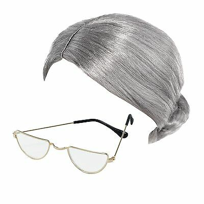 Alt Damen Oma Braten Perücke & Halbmond Brille Kostüm Verkleidung Zubehör (Alte Dame Kostüm Brille)