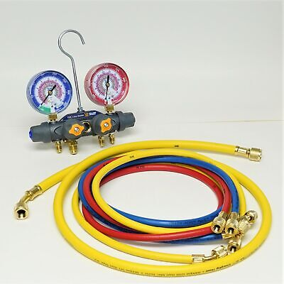 Yellow Jacket 49965 Titan 4-valve Manifold With Charging Hoses For R32r410a