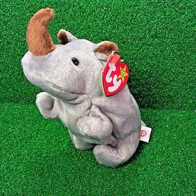 NEW Ty Beanie Baby Spike The Rhinoceros Retired Rhino Plush Toy - MWMT (Baby Rhino)