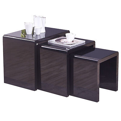 Nest of 3 Black Coffee Table Side End Table High Gloss W/Glass Living Room