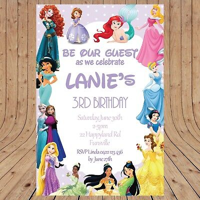 - Personalised DISNEY PRINCESS Kids Party Birthday  Invitations DIGITAL YOU PRINT