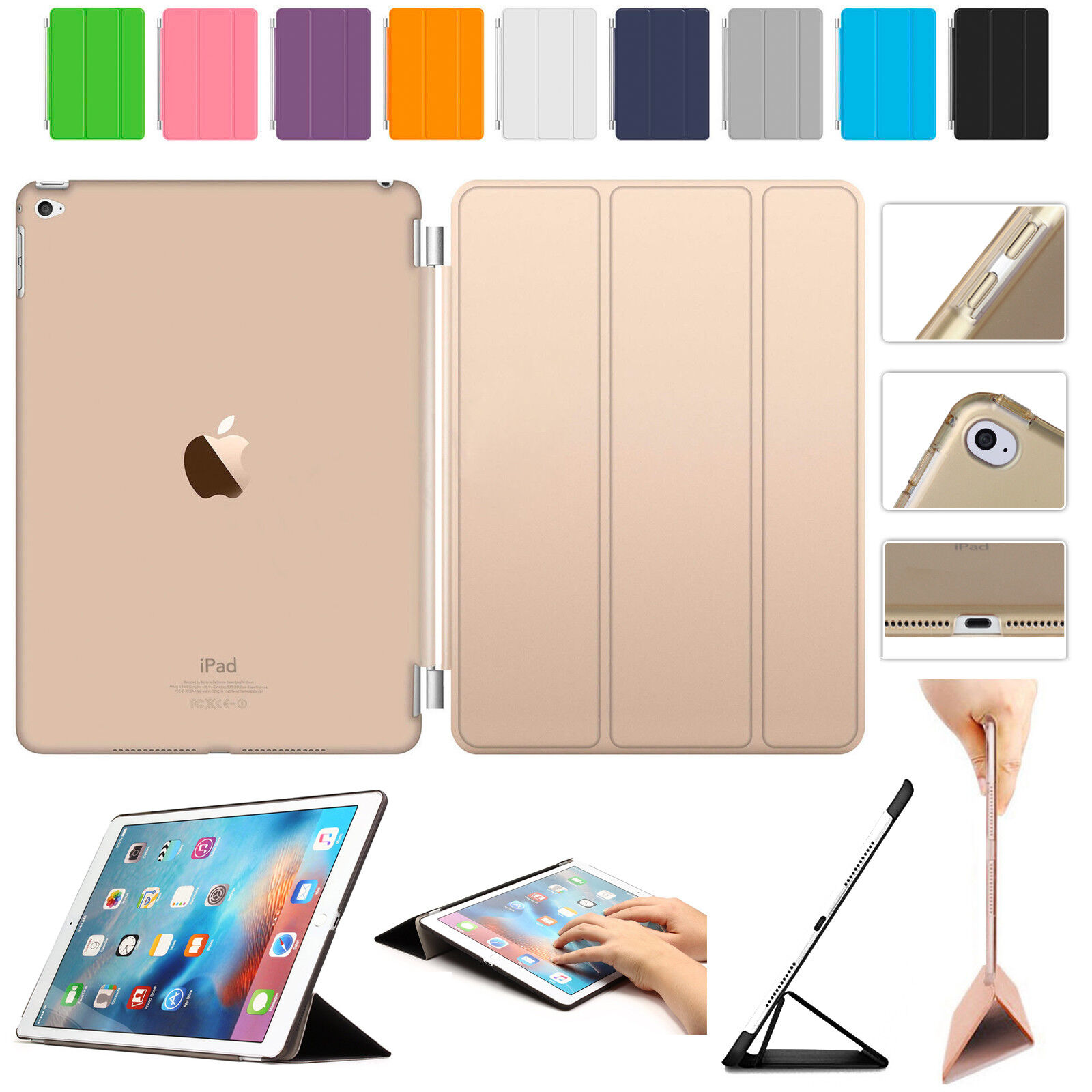 Smart Magnetic Leather Case+Hard Back Cover For APPLE iPad 4/3/2 Pro Air Mini