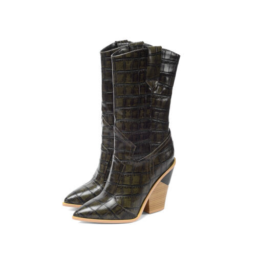 0b6ca6fc3b3 Women's Western Stone Pattern Pointy Toe Chunky Heel Mid Calf ...