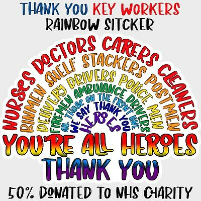 Rainbow Sticker 50% Support NHS Charity Key Worker Wall Window Car Decal COVID