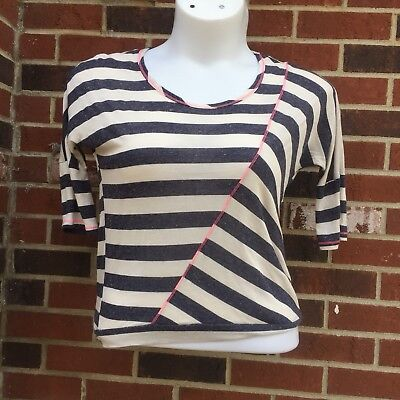 (eyelash couture womans small blouse navy creme striped pink trim NWT)