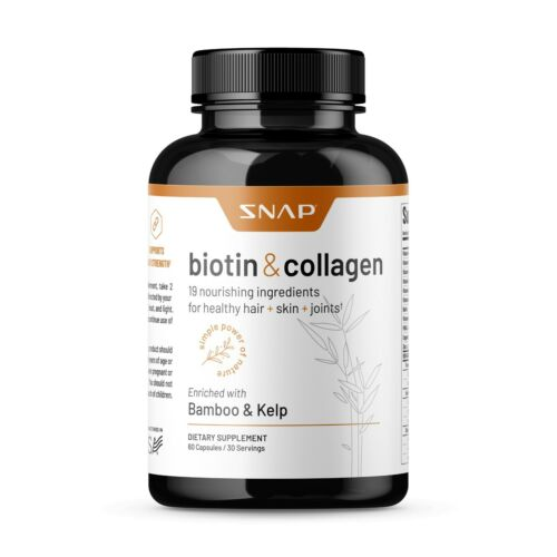 Organic Biotin & Collagen Hair Growth Supplement - Hair, Skin, Joints Vitamins