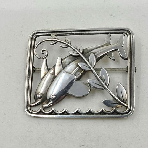 Georg Jensen Denmark Sterling Silver Double Dolphin Brooch Pin # 251