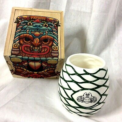 Patron Tequila Tiki Mug Agave Ceramic Drinking Cup Wood Box Cocktails Perfected