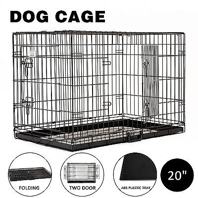 """20"""" Cat Dog Cage Pet Kennel Folding Crate Animal Playpen Metal Wire Enclosure"""