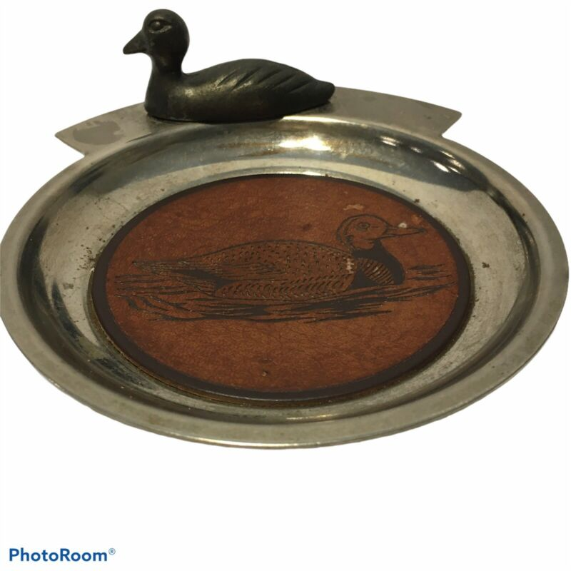 Vintage  Ashtray Key  Coin holder With Duck Loon Mallard  Felt Lined