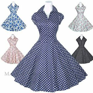 Maggie-Tang-50s-Polka-Dot-Rockabilly-Housewife-Pinup-Retro-VTG-Swing-Dress-S-512