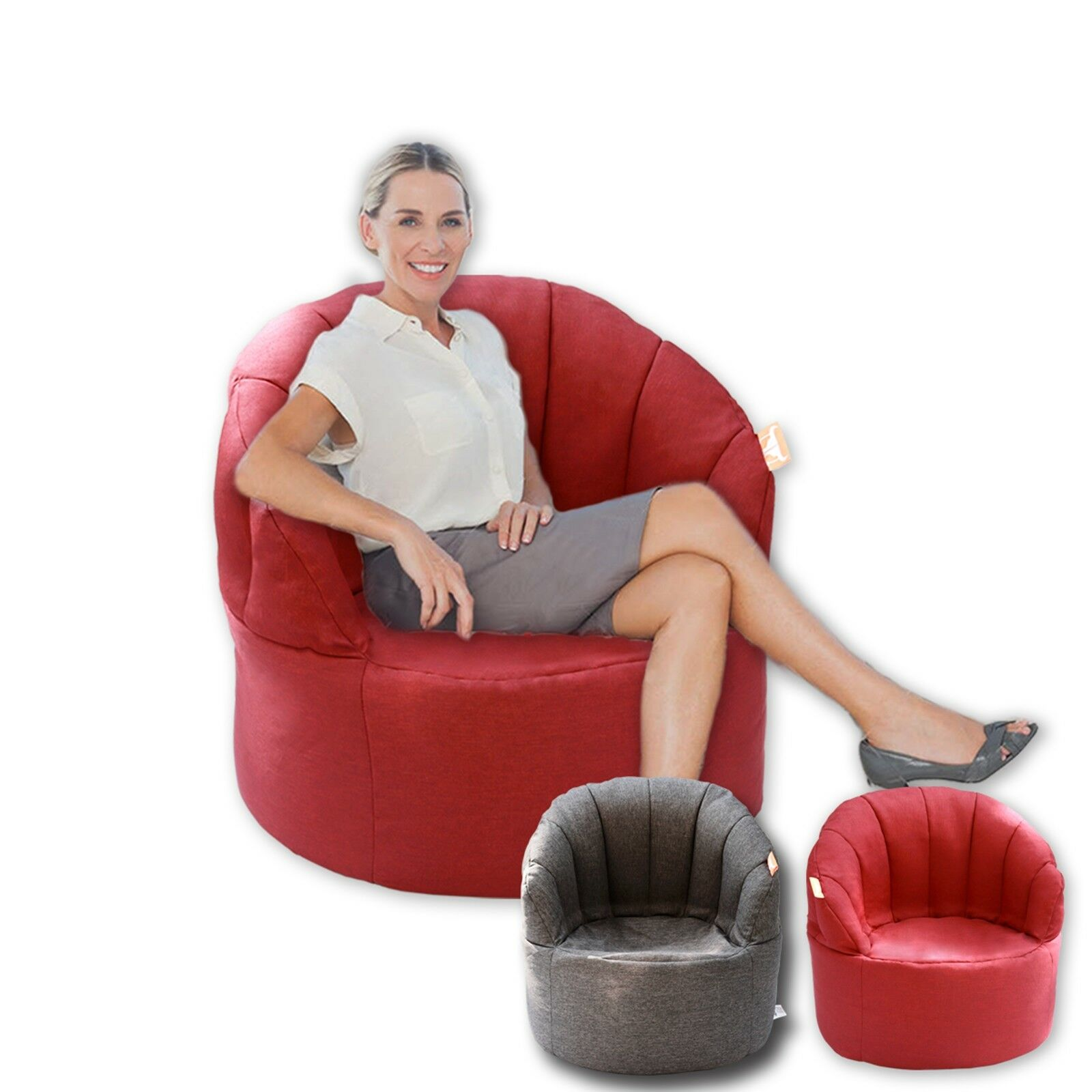 S Bean Bag Sofa Beanbag Cover Reading Relaxing Chair Seat Lounge Bed Red