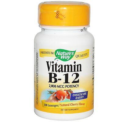 Nature's Way,Vitamina B-12,Naturale Ciliegia Gusto,2,000 mcg microgrammi,x 100