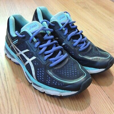 Asics Gel Kayano 22 Running Shoes Blue Black Womens Size 9.5 no insole