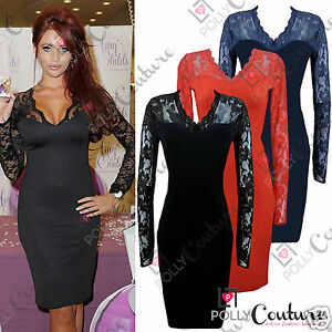 Womens-Black-Red-Ladies-Bodycon-Midi-Lace-Pencil-Cocktail-UK-Party-Evening-Dress