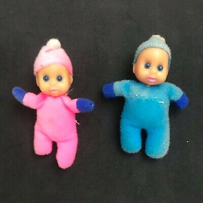 Pair of vintage baby William matchbox dolls 1970s blue and pink
