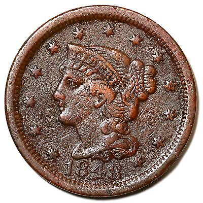 1848 N-39 R-5 MDS BRAIDED HAIR LARGE CENT COIN 1C