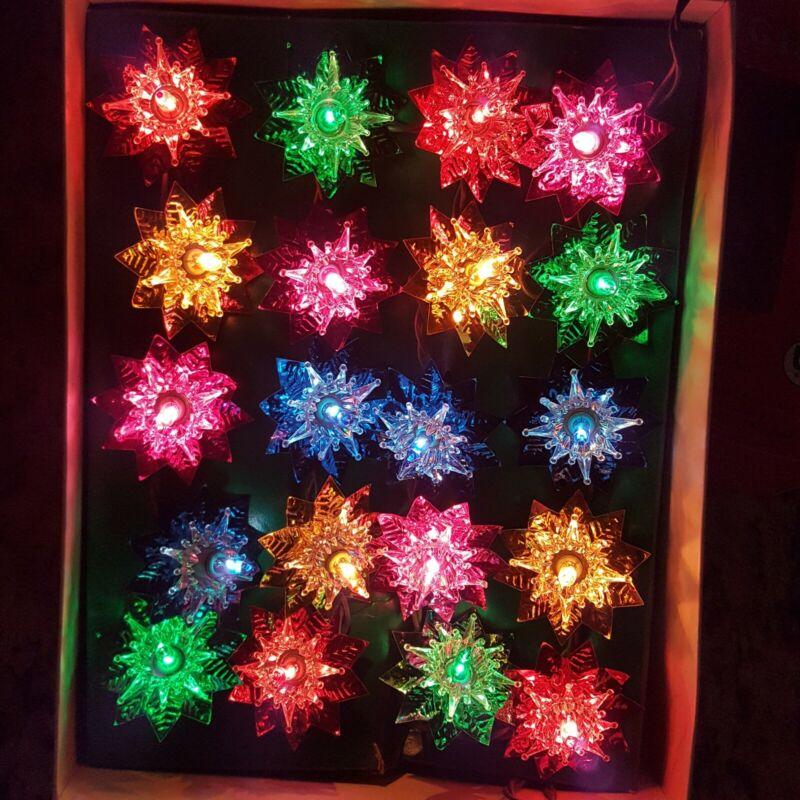 In Box 20 Foil Christmas Tree Light Set String Reflectors Multicolor Flower
