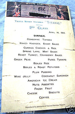 TITANIC Menu Restraunt Antique Vintage Retro Old London Hotel Card New York US