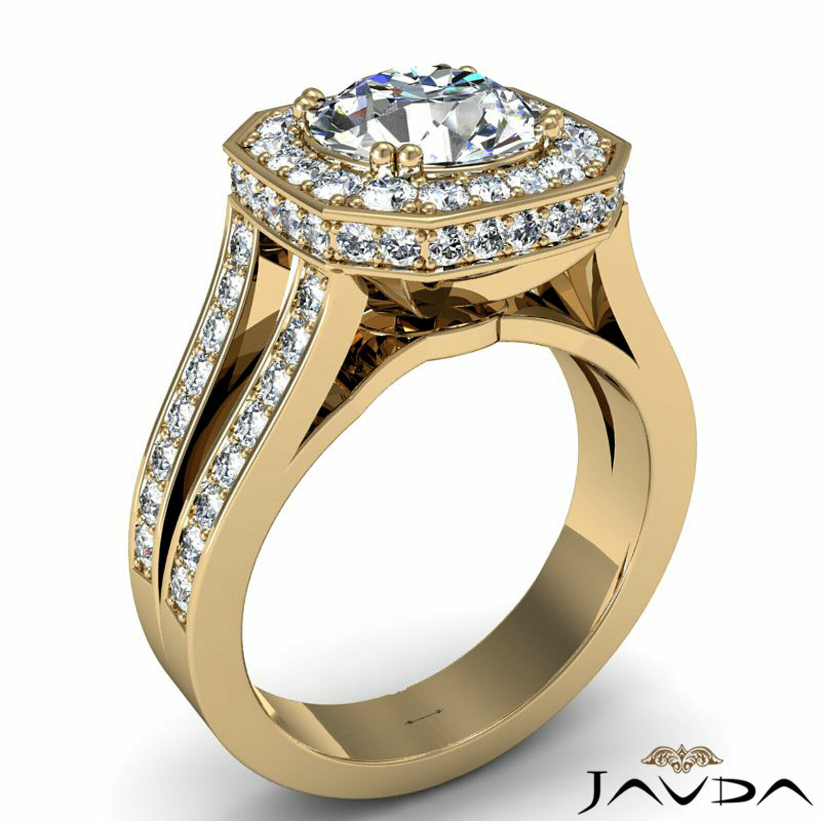 Hexagon Halo Split Shank Round Diamond Engagement Ring GIA F VS1 Clarity 2.84Ct 7