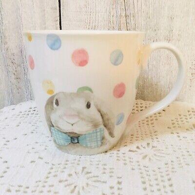 Ciroa Easter Parade Porcelain Jumbo Bunny Coffee Mug Polka Dot Rabbit Bowtie  Bow Tie Jumbo Polka Dot