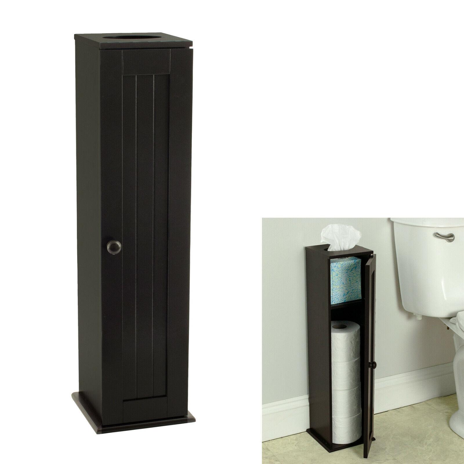 Free Standing Espresso Toilet Paper Storage Cabinet Tower Bathroom Bath