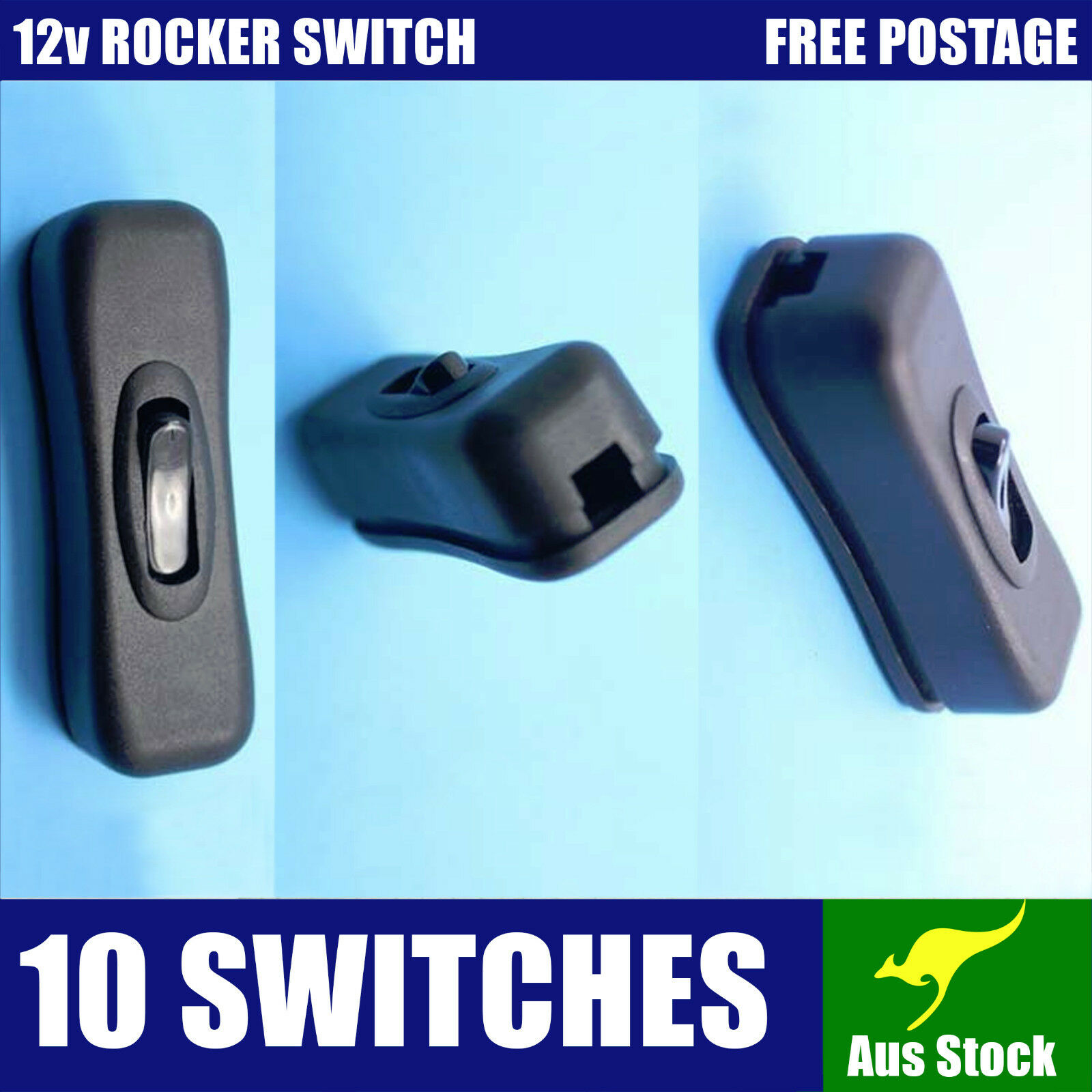 10X 12V INLINE ROCKER SWITCH jayco caravan boat 4wd truck light camping LED 4x4