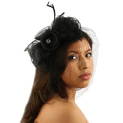 Fancy Feathers Birdcage Bridal Net Headband Fascinator Ribbon Cocktail Hat Black