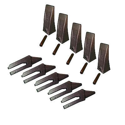 5 - Mini Excavator Bucket Dirt Teeth W Bolt-on Shanks Pins - X156l