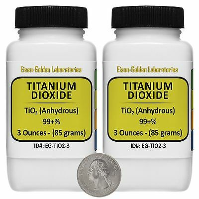 Titanium Dioxide Tio2 99 Acs Grade Powder 6 Oz In Two Easy-pour Bottles Usa