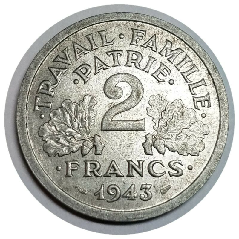 🇫🇷 1943 Vintage France French 2 Francs Aluminum Coin ☆ 001