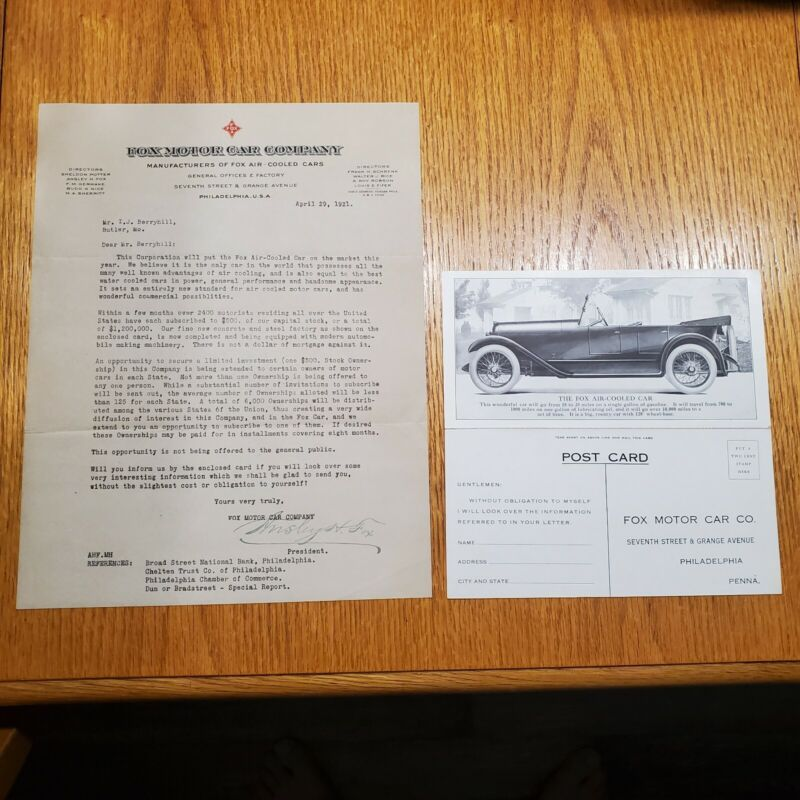 Rare 1921 Fox Motor Car Company Donation Solicitation Document and Postcard Orig