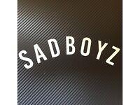 "/""SADBOYZ/"" vinyl sticker in Silver Metallic 3/""x 9/"""