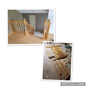 Solid Oak stair Railing, Posts and Spindles