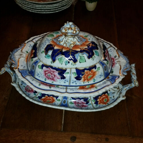 Very Rare Hicks & Meigh English 3-piece Covered Bowl with Underplate c. 1820