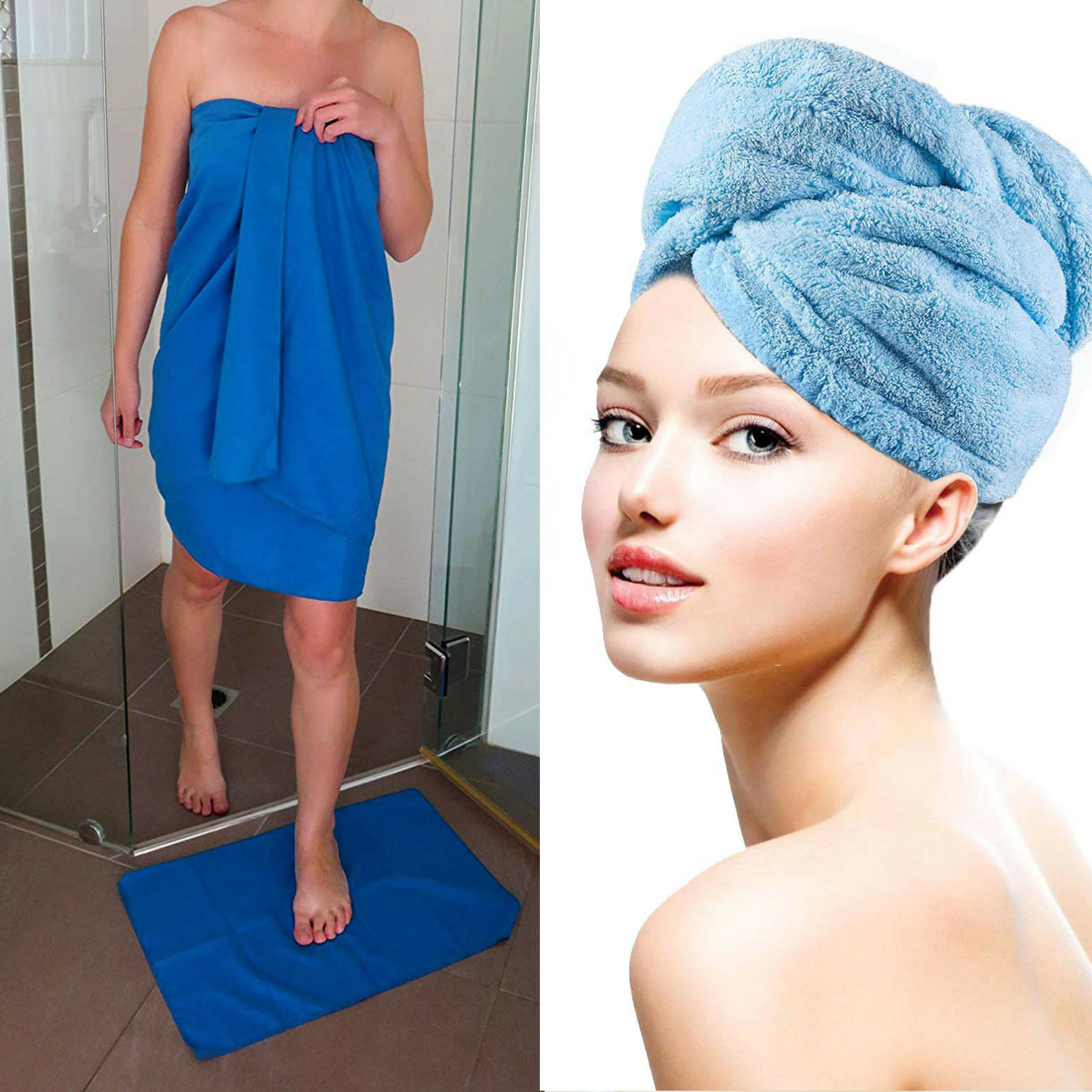 "Microfiber Travel Towel XL 30x60"" with FREE Hand Towel/Hair"
