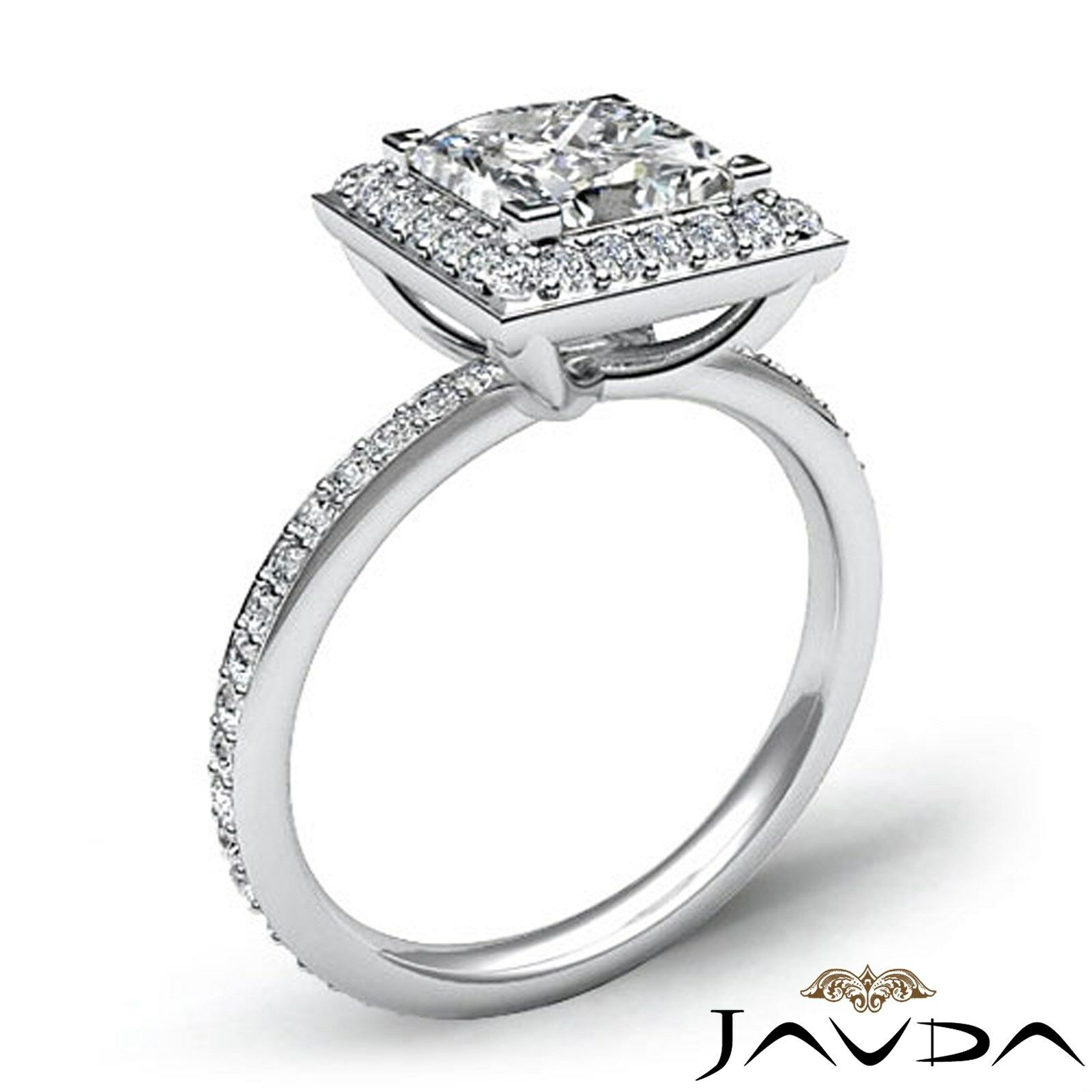Halo Pave Set Princess Cut Diamond Engagement Ring GIA G Color VS1 Clarity 2.5Ct 1
