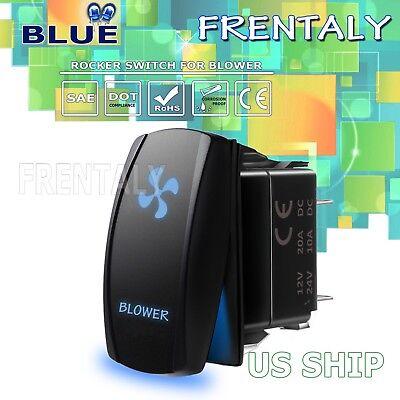 Frentaly Blue LED Light Blower Laser Rocker Switch ON-OFF LED Light 20A 12V 5pin