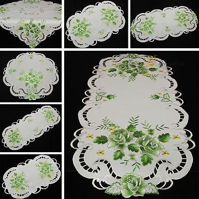 Rose Doily Table runner Topper Tablecloth White with Green F