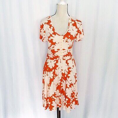 Anthropologie Maeve orange floral short sleeve dress size M