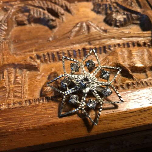 Art Deco Era Star Rhinestone Brooch C-Clasp Pin