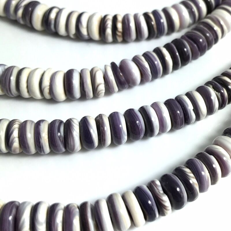 "15.5"" - Natural Purple Wampum Quahog Shell 8mm Roundel Beads HQ, NEW DIY Special"