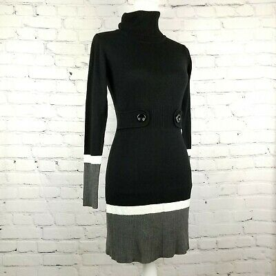 BCX Knit Sweater Dress~Black~Gray~White~Turtle Neck SIze Small