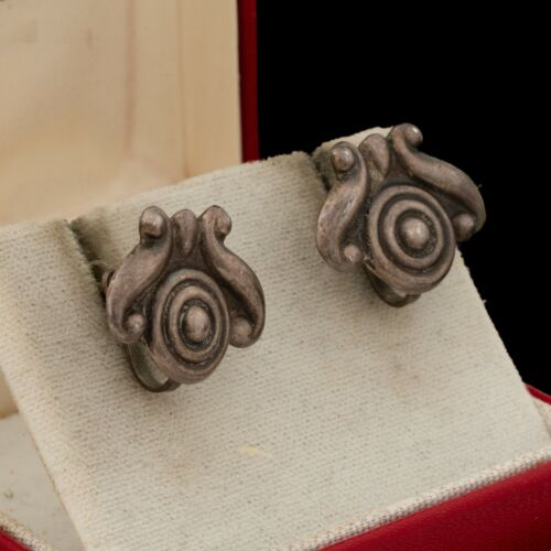 Antique Vintage Deco 925 Sterling Silver Mexican TAXCO Repousse Earrings 6.6g