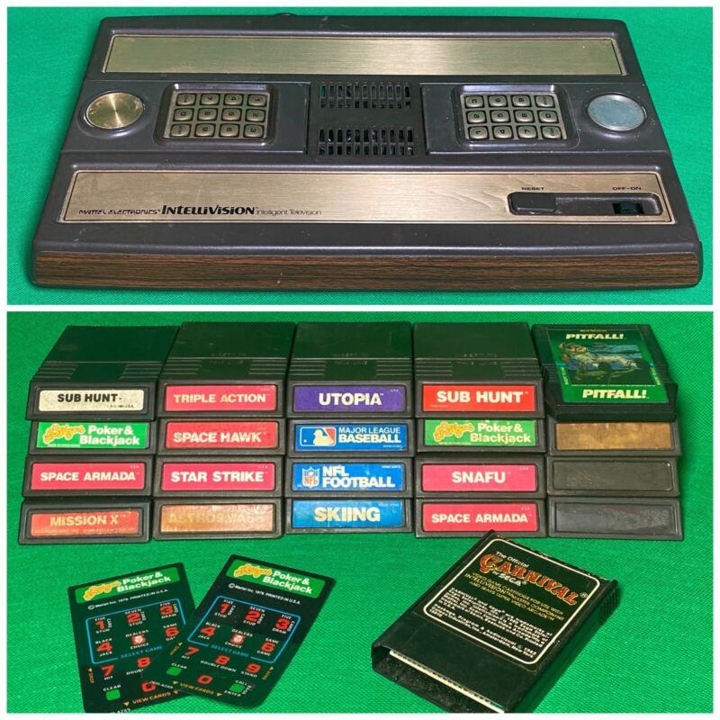 INTELLIVISION Console & 21 Loose Game Cartridge Lot PITFALL SUB HUNT White Label
