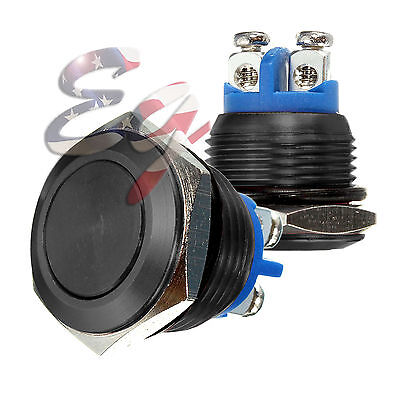 16mm Black Water Proof Starter Switch Boat Horn Momentary Button Stainless Steel